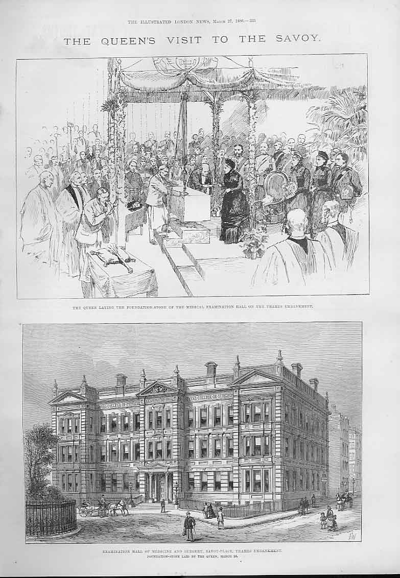 Print Queens Visit To The Savoy Hall Medicine 1886 35Aaa0 Old Original