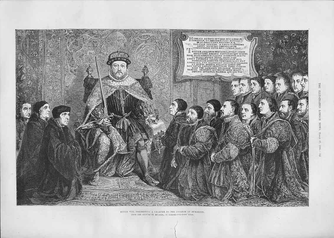 Print Henry Viii Presents Charter To College Surgeons 42Aaa0 Old Original