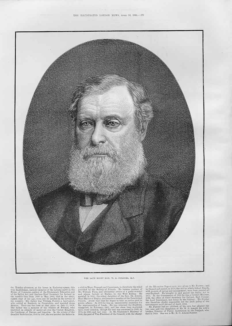 Print Portrait W E Forster 1886 70Aaa0 Old Original