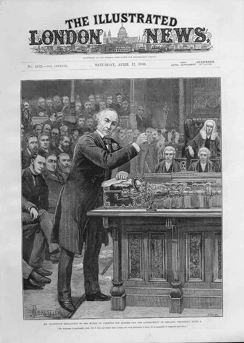 Print Gladstone Explaining Plans For Government Ireland 96Aaa0 Old Original