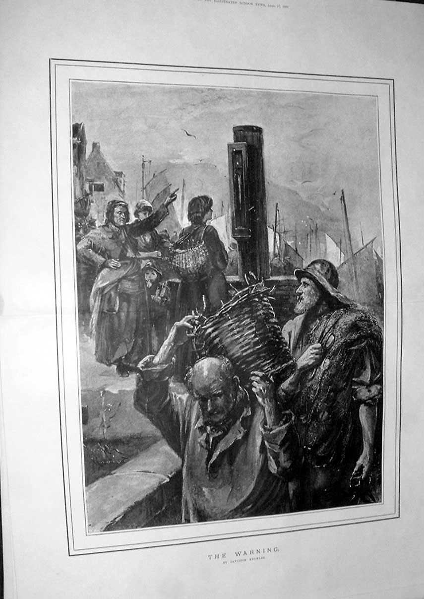 Print The Warning To Seafolk By Knowles Fine Art 1886 04Taaa0 Old Original