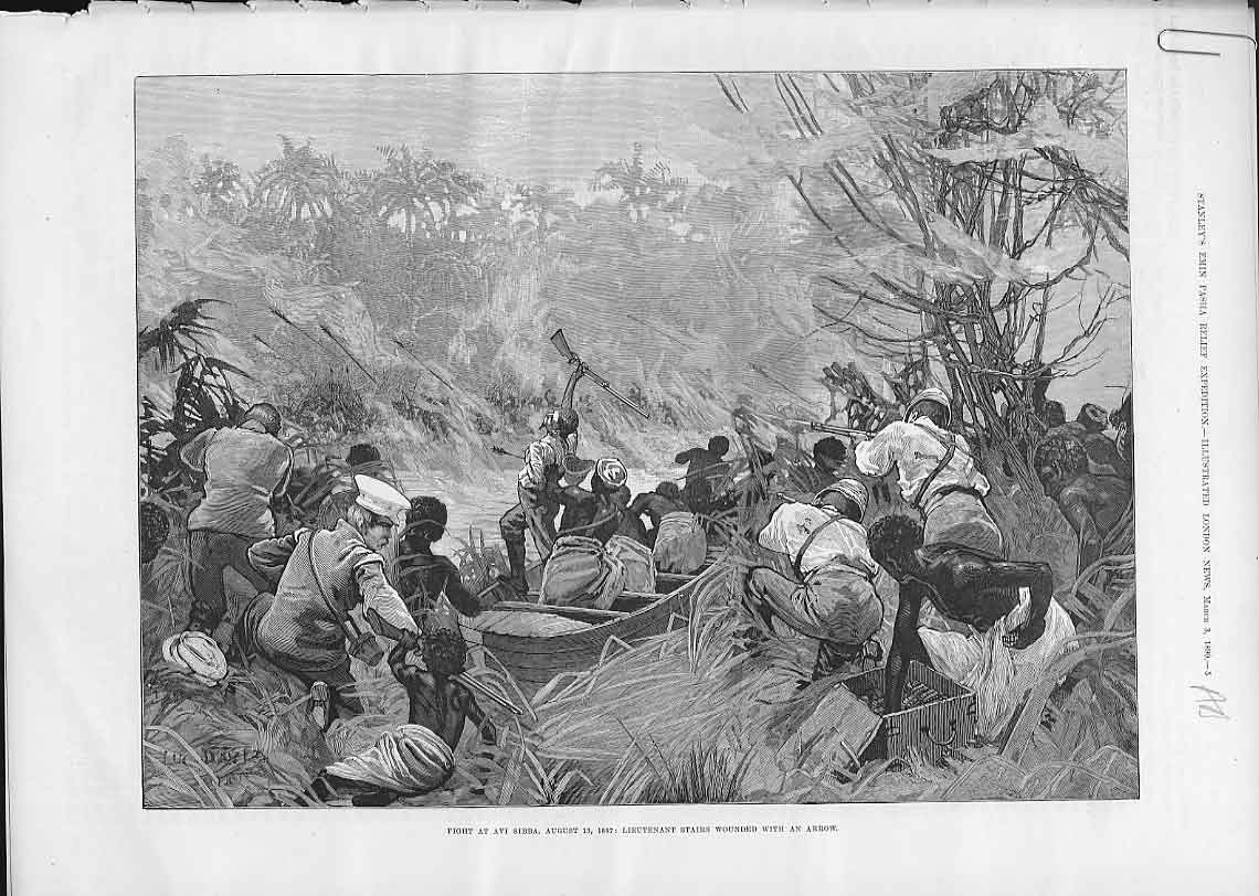 Print Fight At Avi Sibba Stanley'S Africa 1890 05Aaaa0 Old Original