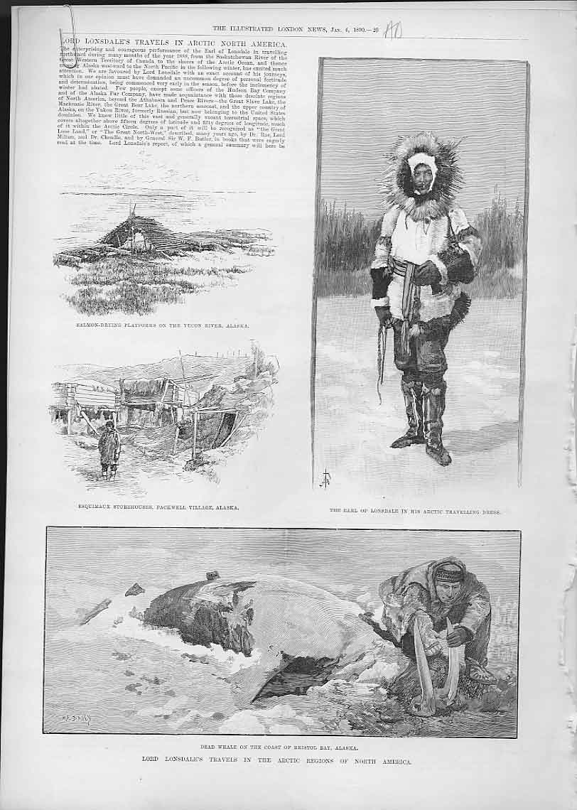 Print Londsdales Travels North America 1890 Mackenzie River 20Aaaa0 Old Original