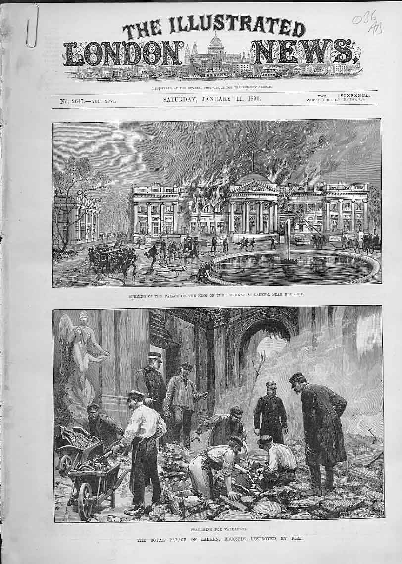 Print Royal Palace Laeken Brussels Destroyed By Fire 1890 36Aaaa0 Old Original