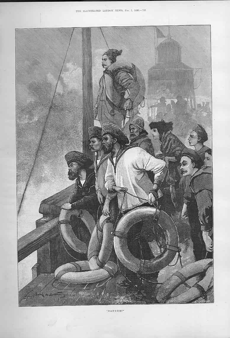 Print Danger Ship Approaches Pier Fine Art 1890 41Aaa0 Old Original