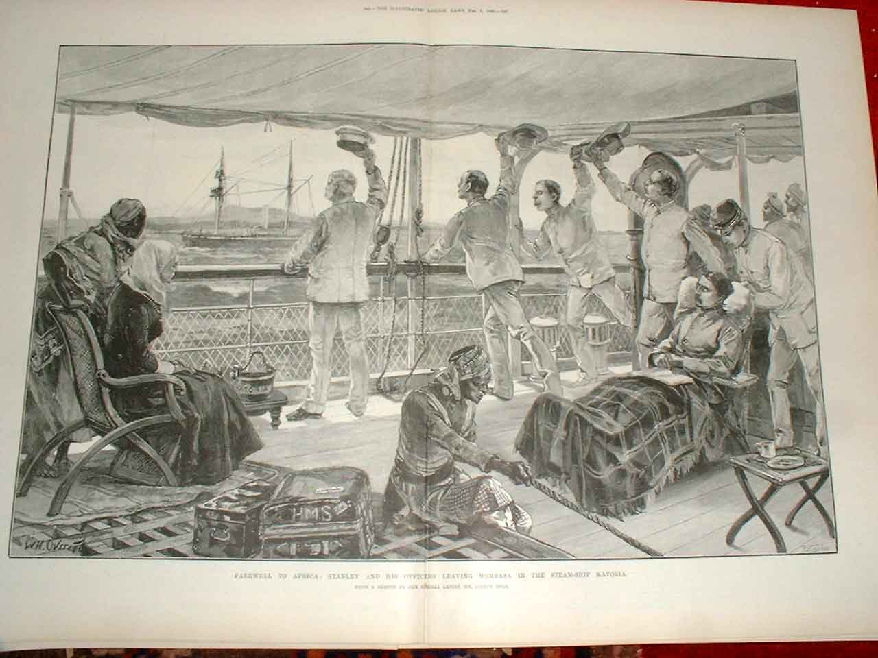 Print Stanley'S Farewell To Africa By Ship Katoria Mombassa 43Taaa0 Old Original