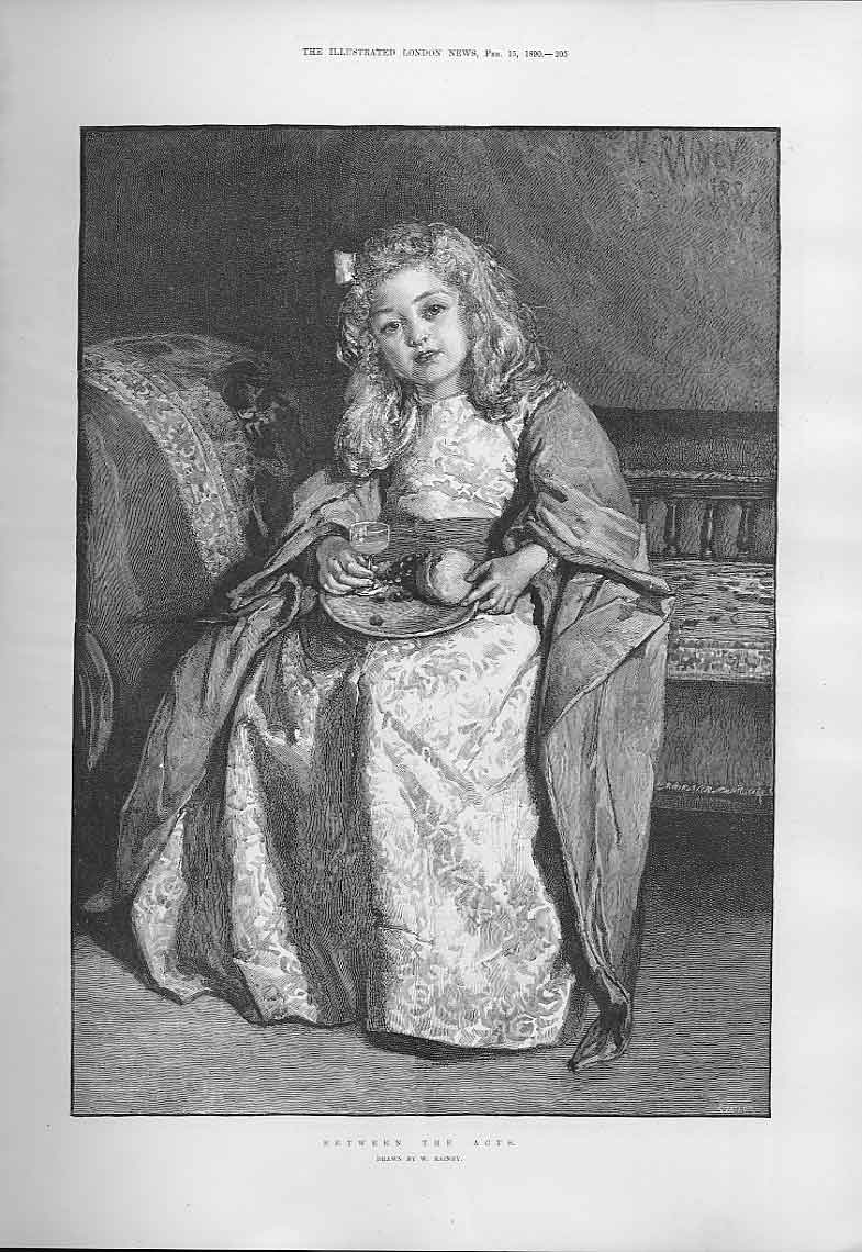 Print Girl Actress Between Acts By Rainey Fine Art 1890 05Aaa0 Old Original