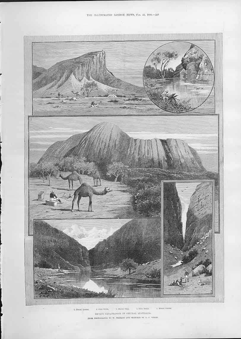 Print Central Australia 1890 Mount Leisler Glen Edith 29Aaa0 Old Original