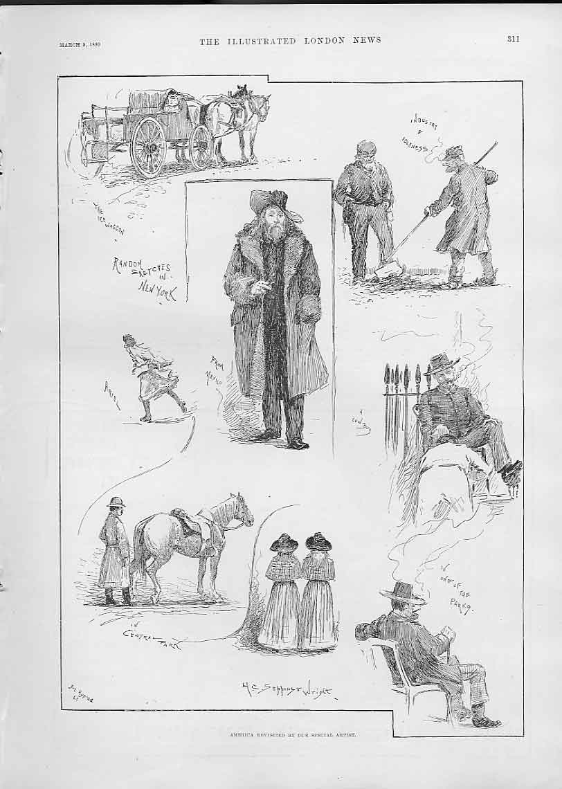 Print Random Sketches New York 1890 America 11Aaa0 Old Original