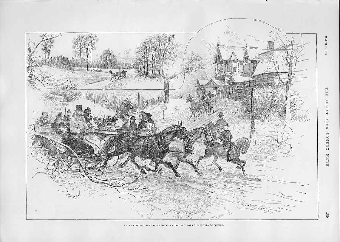 Print New York Farewell To Winter 1890 America 59Aaa0 Old Original