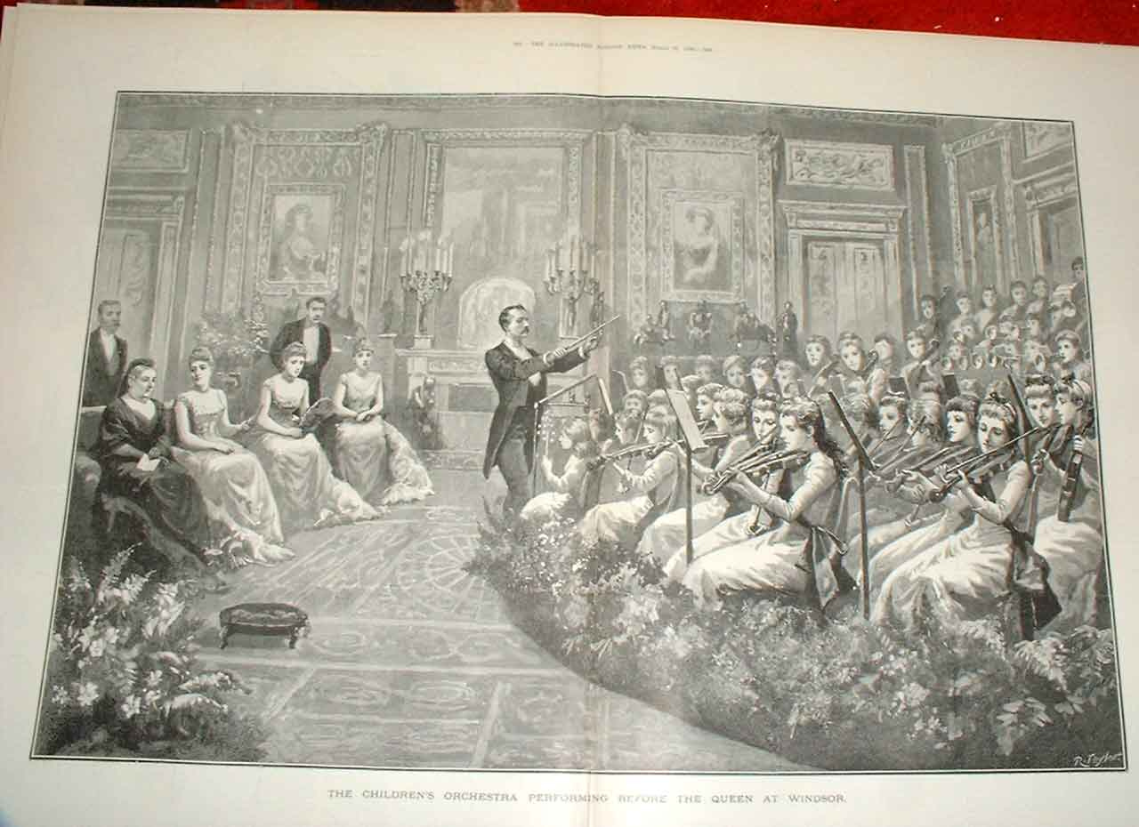 Print Childrens Orchestra Perform Before Queen At Windsor 189 67Taaa0 Old Original