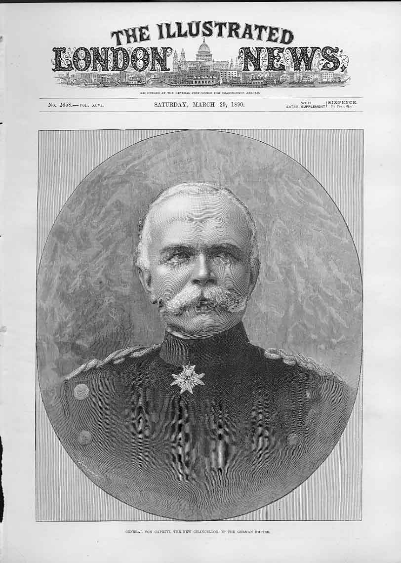 Print Gen Von Caprive Chancellor German Empire 1890 86Aaa0 Old Original