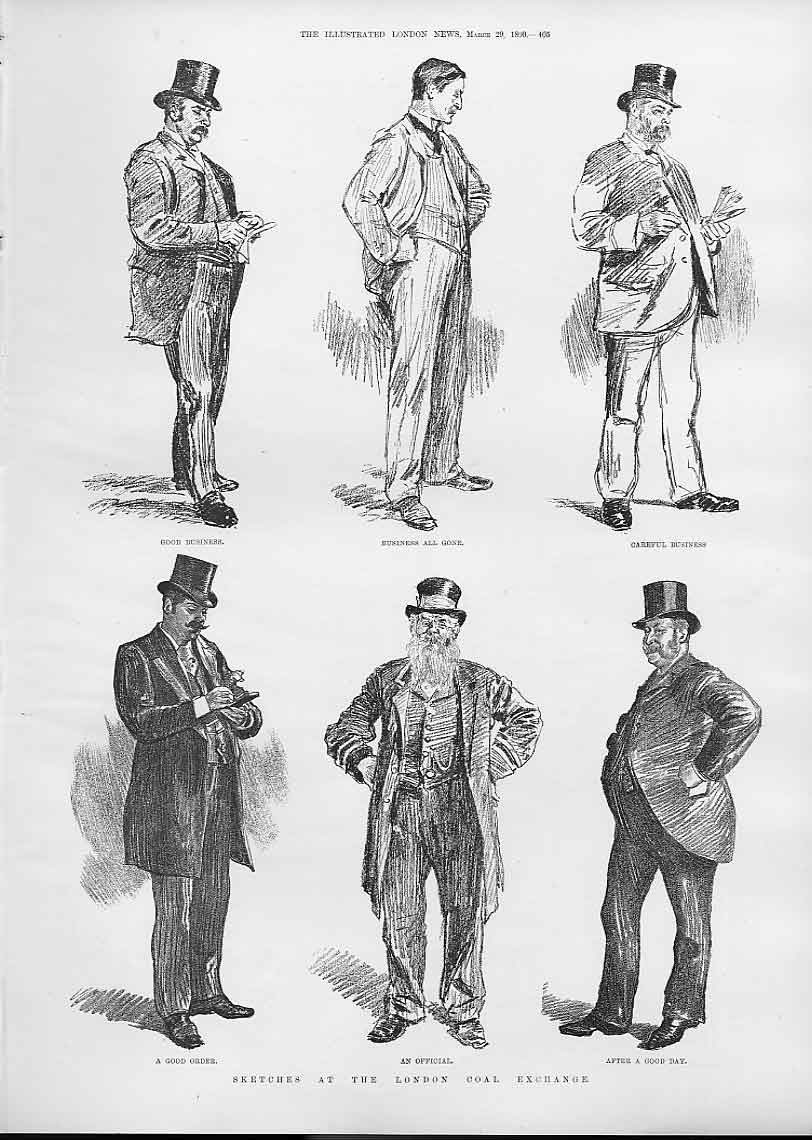Print Characters At London Caol Exchange 1890 05Aaa0 Old Original