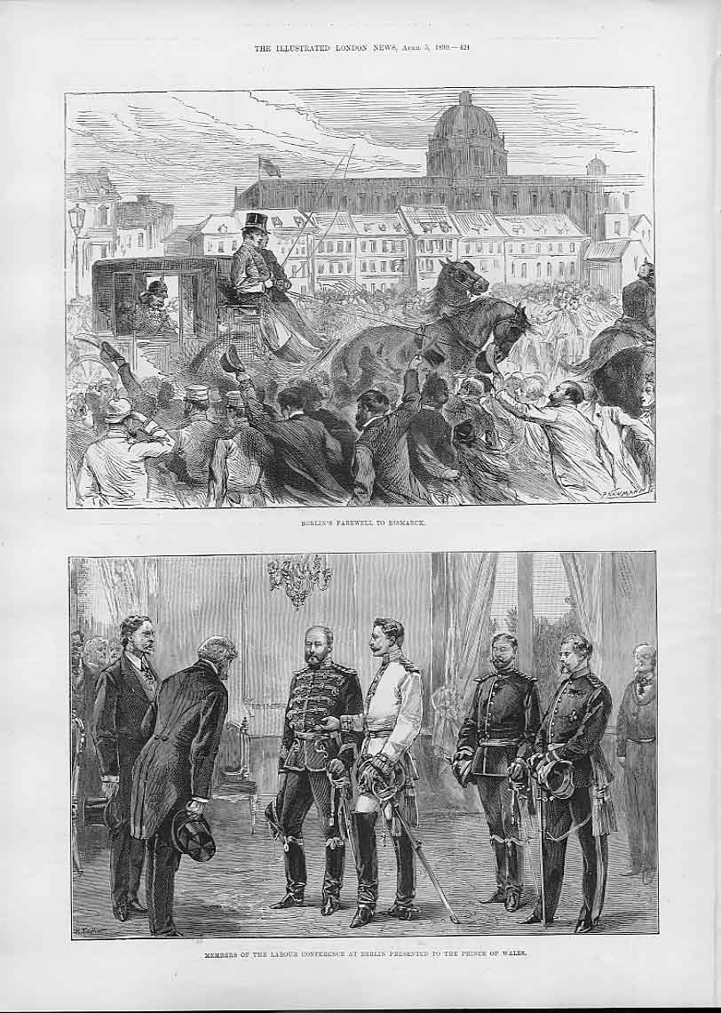 Print Berlins Farewell To Bismark 1890 24Aaa0 Old Original