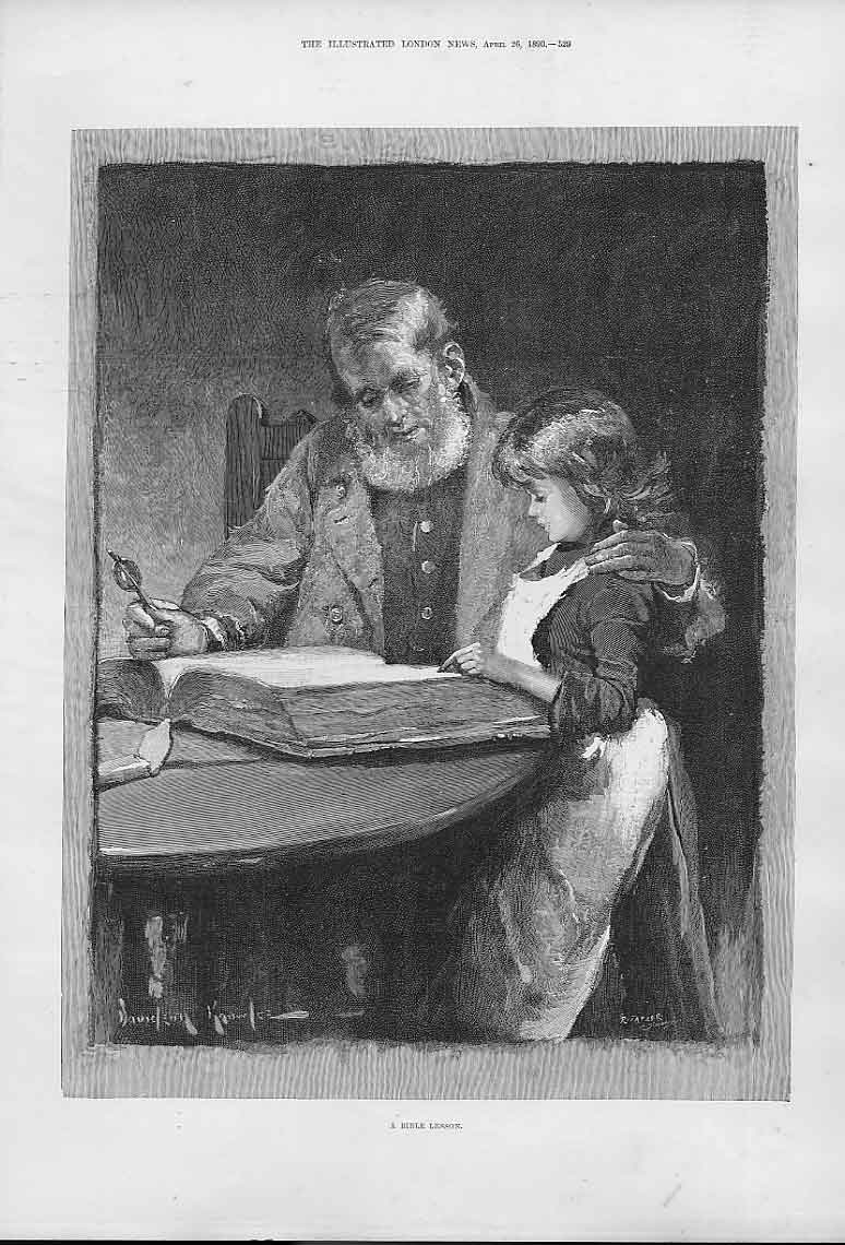 Print Bible Lesson Fine Art By Knowles 1890 29Aaa0 Old Original
