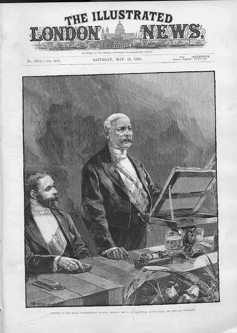 Print Stanley Speaking Royal Geographical Society 1890 78Aaa0 Old Original