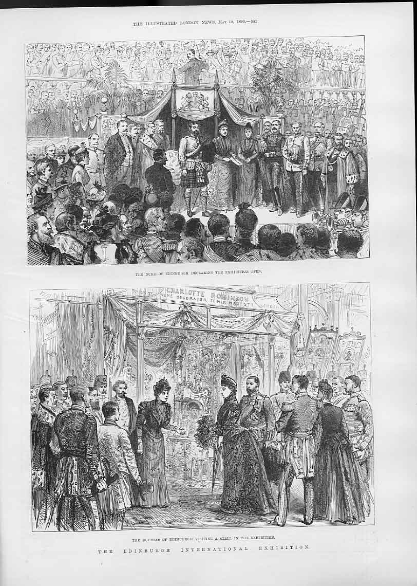 Print Royal Visitors To Edinburgh International Festival 1890 81Aaa0 Old Original