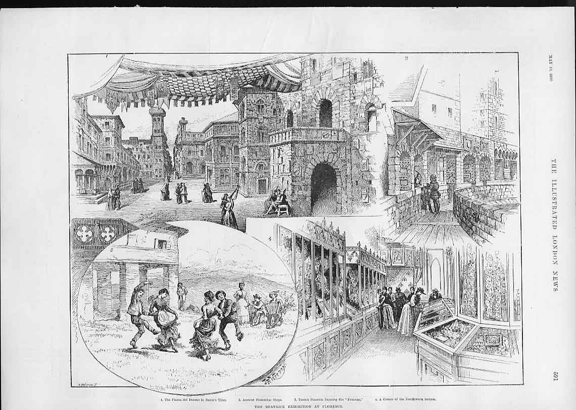 Print The Beatrice Exhibition At Florence Italy 91Aaa0 Old Original