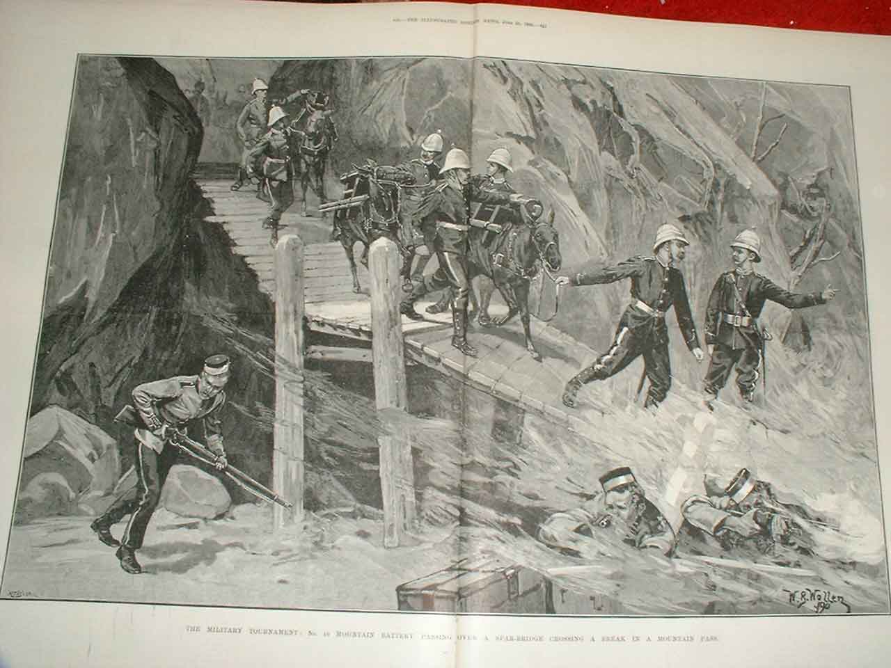 Print Military Tournament Army In Action Mountain Pass 1890 15Taaa0 Old Original