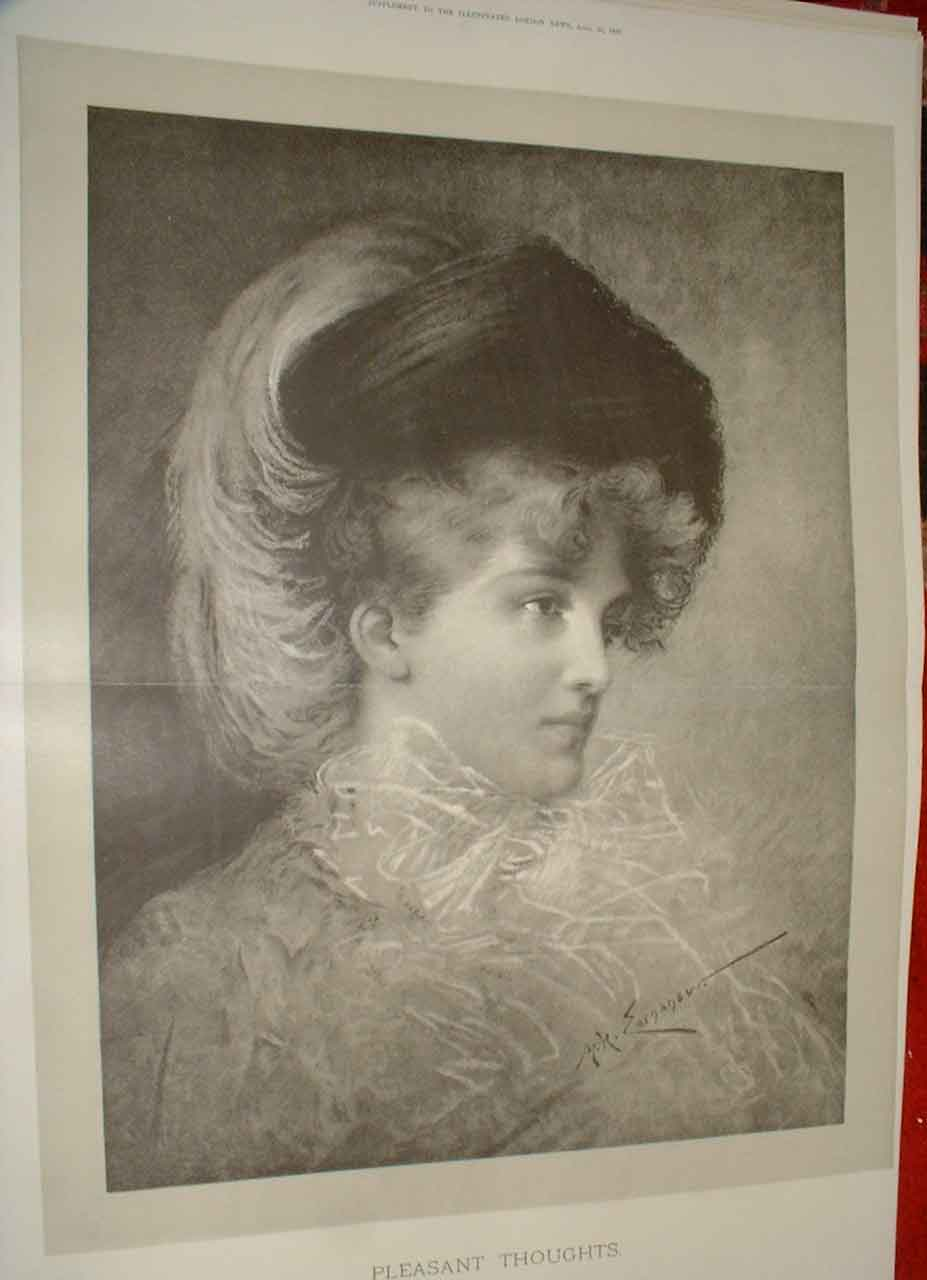 Print Lady With Pleasant Thoughts Fine Art 1890 06Taaa0 Old Original