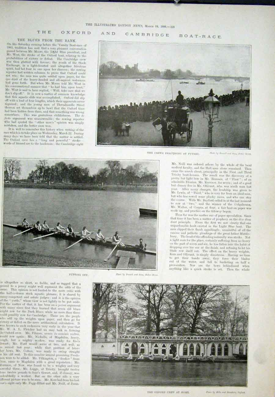 Print Oxford Cambridge Boat Race Crew Putney 1893 25Aaa0 Old Original
