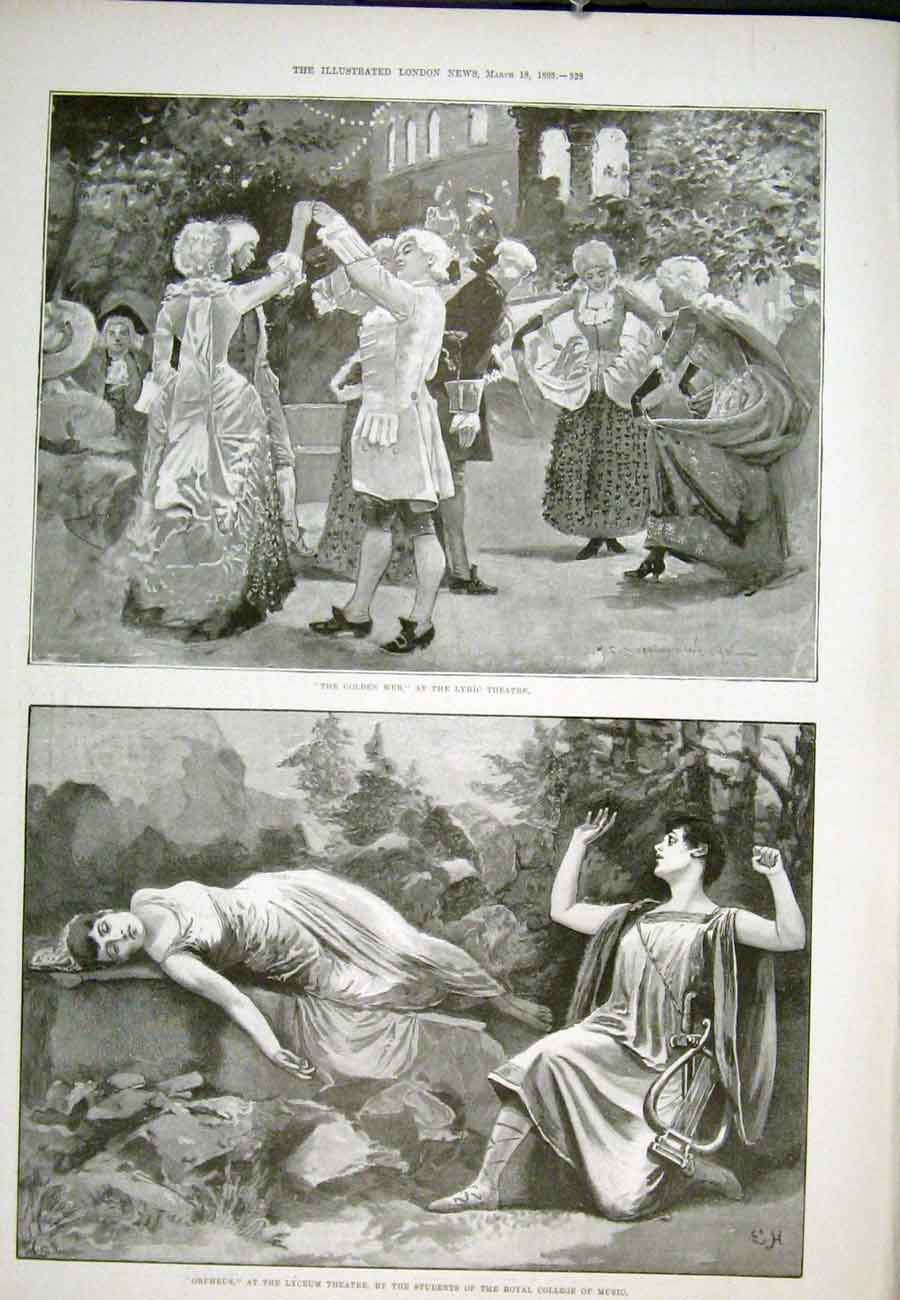 Print Lyric Theatre Lyceum Orpheus Golden Web 1893 28Aaa0 Old Original