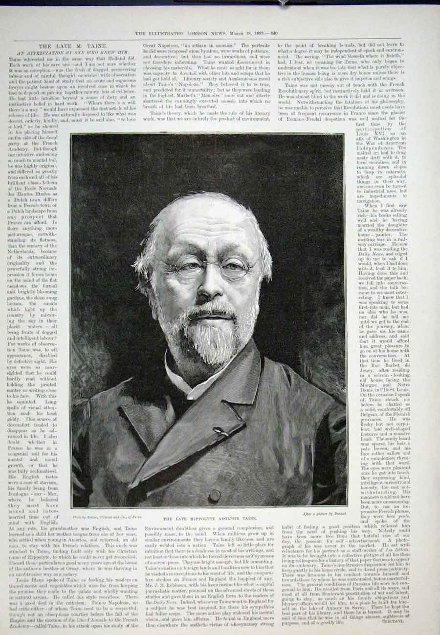 Print Portrait Hippolyte Adolphe Taine 1893 40Aaa0 Old Original