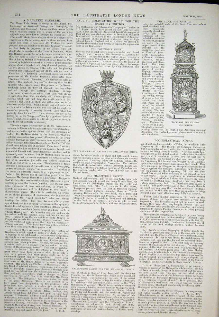 Print Columbian Shield Chicago Exhibition Shakesperian Casket 42Aaa0 Old Original