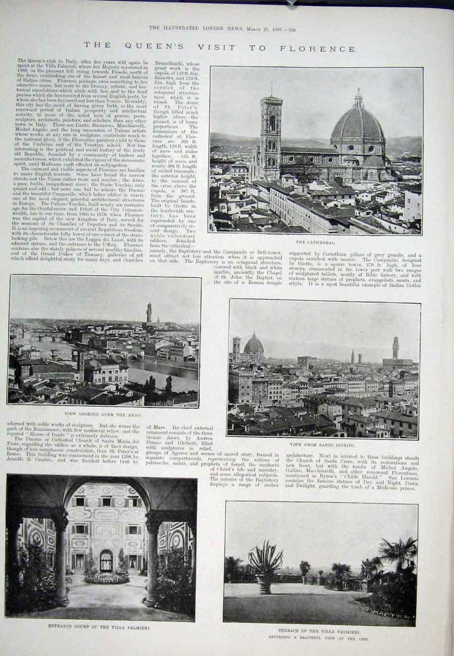 Print Florence Queen Visit Cathedral Arno Palmieri 1893 56Aaa0 Old Original