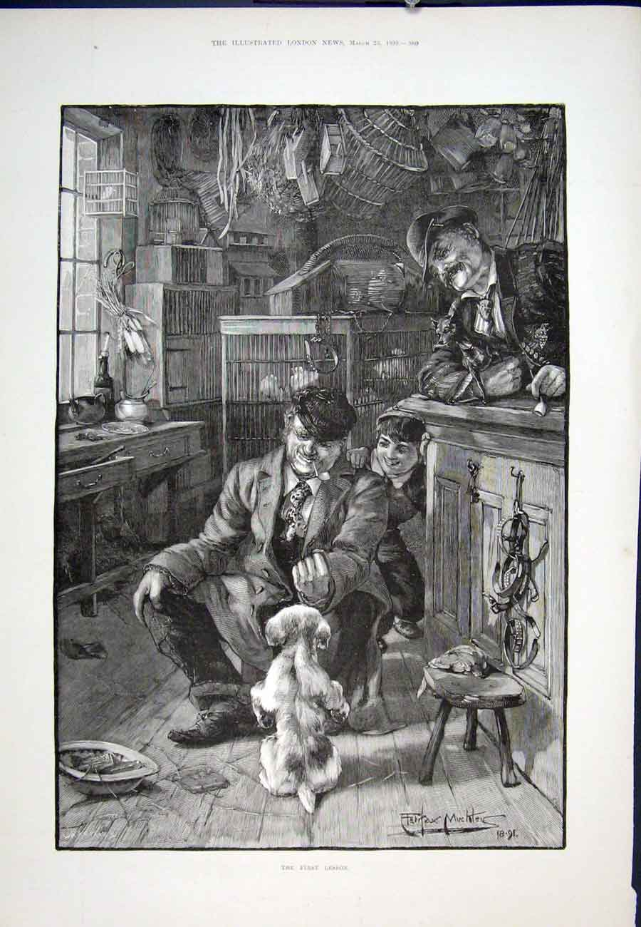 Print First Lesson Dog Begging 1893 60Aaa0 Old Original