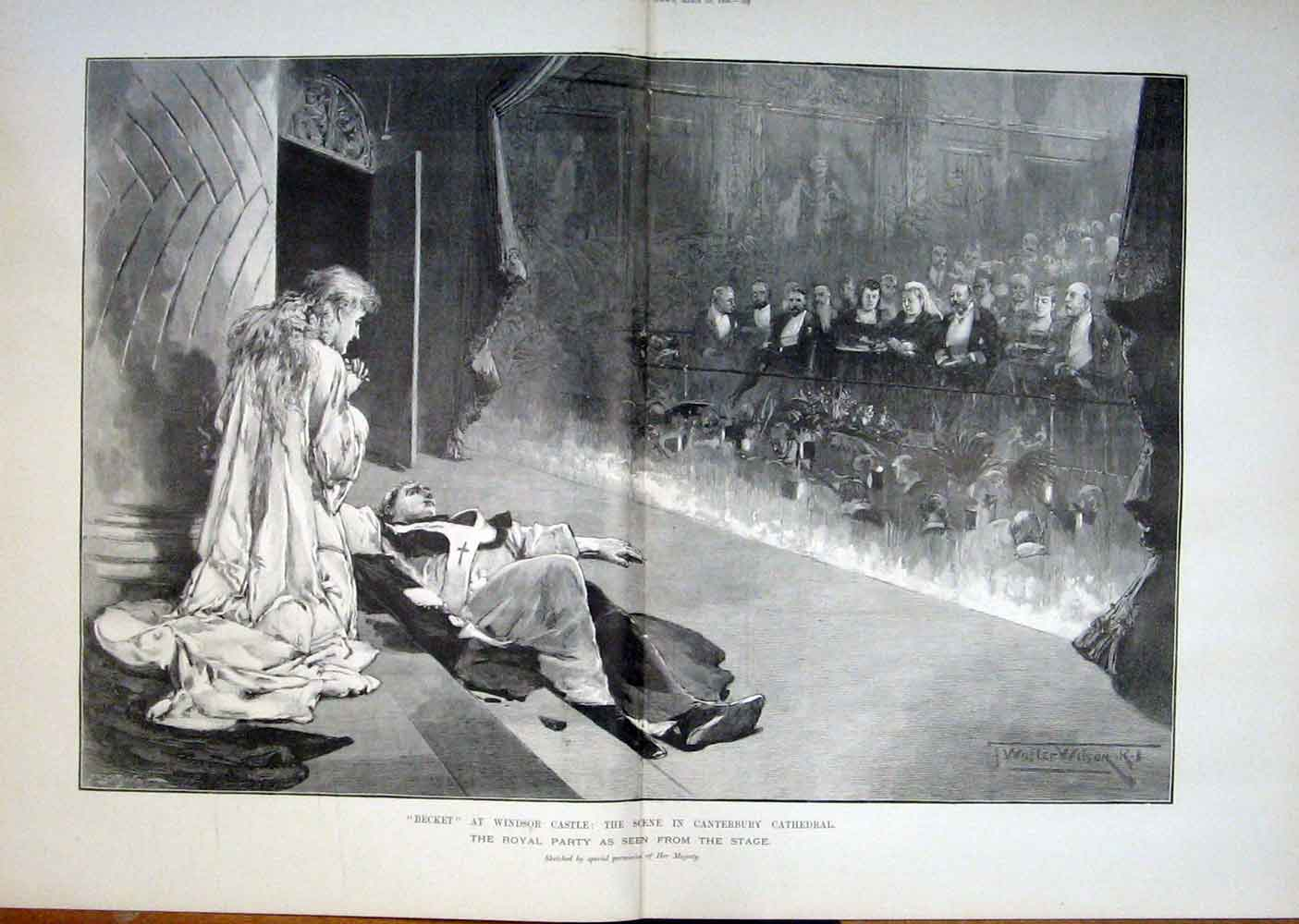 Print Becket Windsor Castle Canterbury Cathedral Royal 1893 67Taaa0 Old Original
