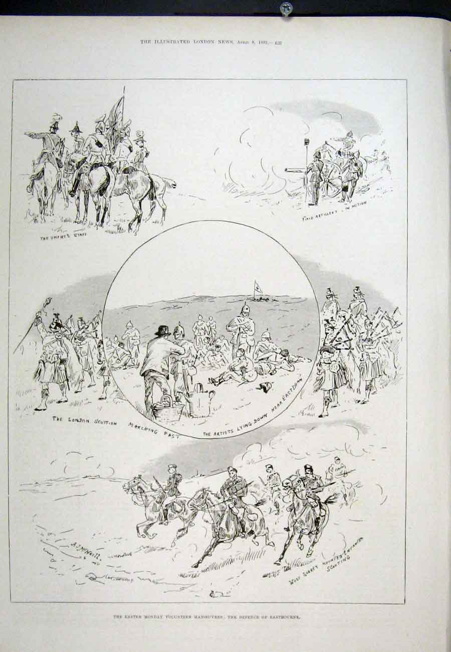 Print Eastbourne Defence Easter Monday 1893 20Aaa0 Old Original