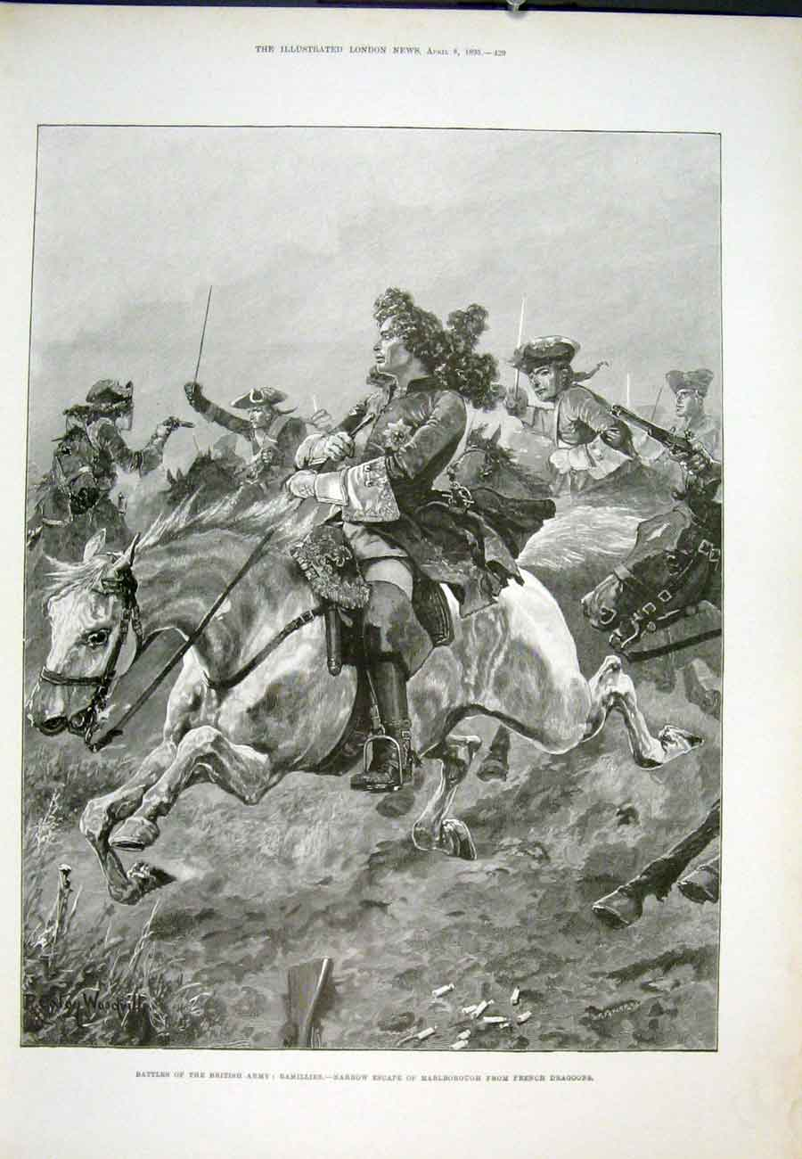 Print Ramilles Marlborough French Dragoons Woodville 1893 29Aaa0 Old Original