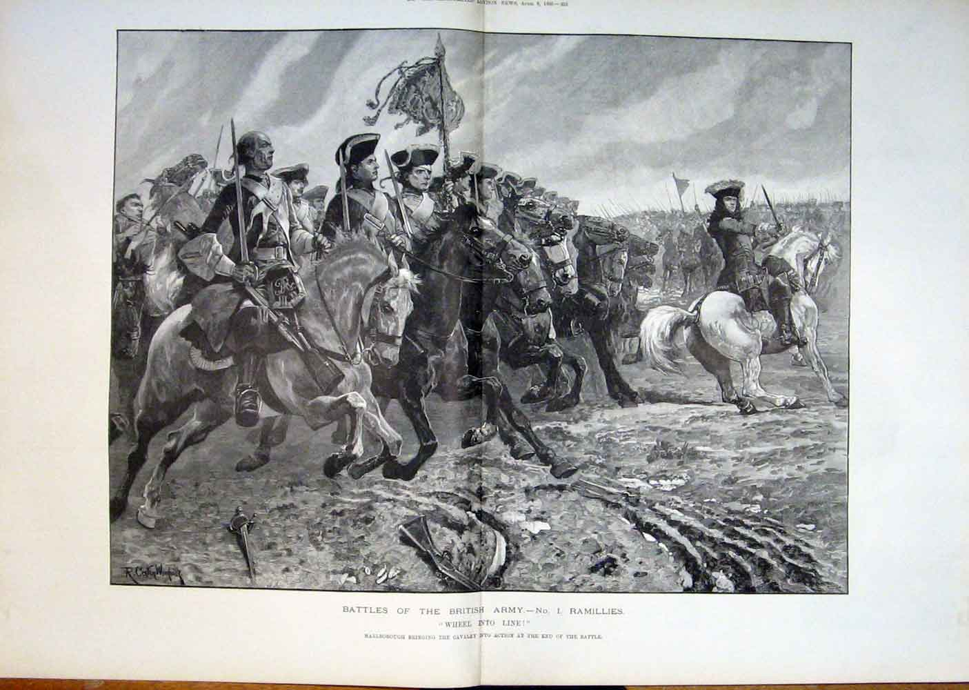 Print Battles Ramilles Marlborough Cavalry British Army 1893 31Taaa0 Old Original
