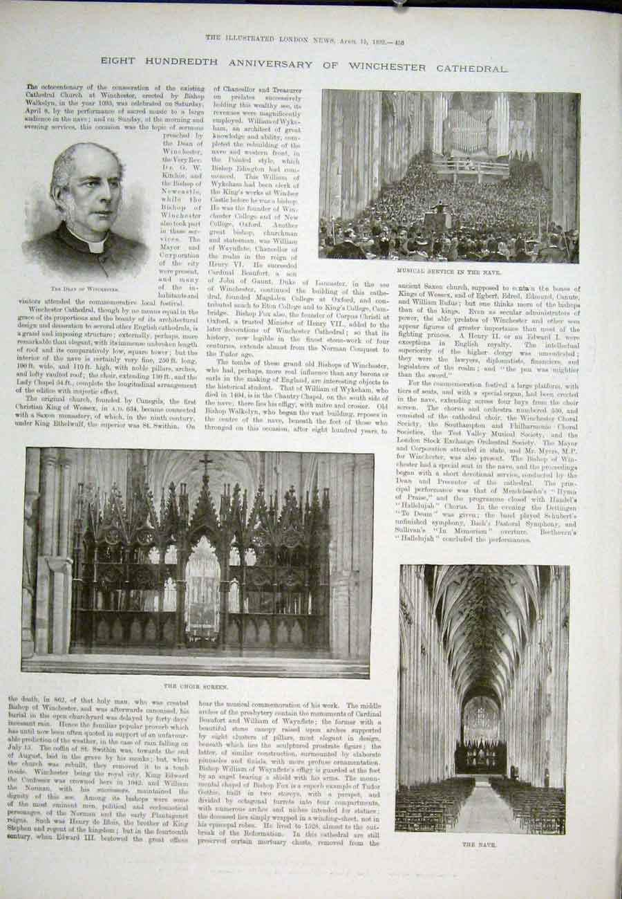 Print Winchester Cathedral Walkelyn London 1893 56Aaa0 Old Original