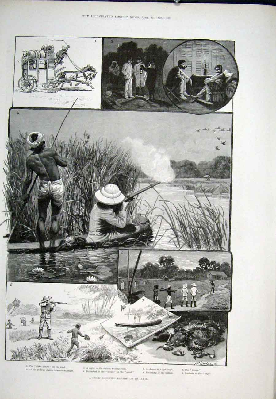 Print Duck Shooting Expedition India 1893 68Aaa0 Old Original