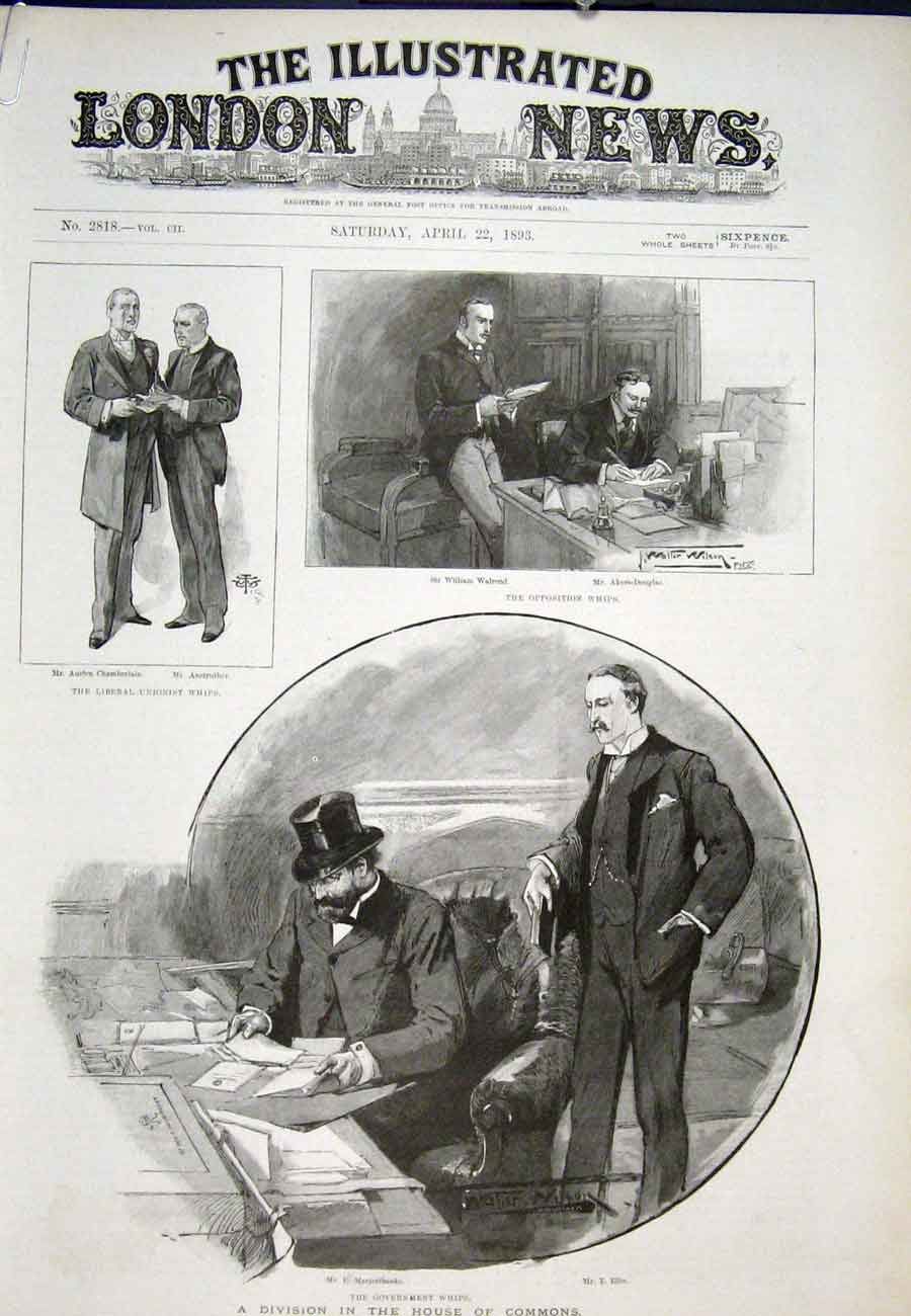 Print Division House Commons Government Whips 1893 81Aaaa0 Old Original