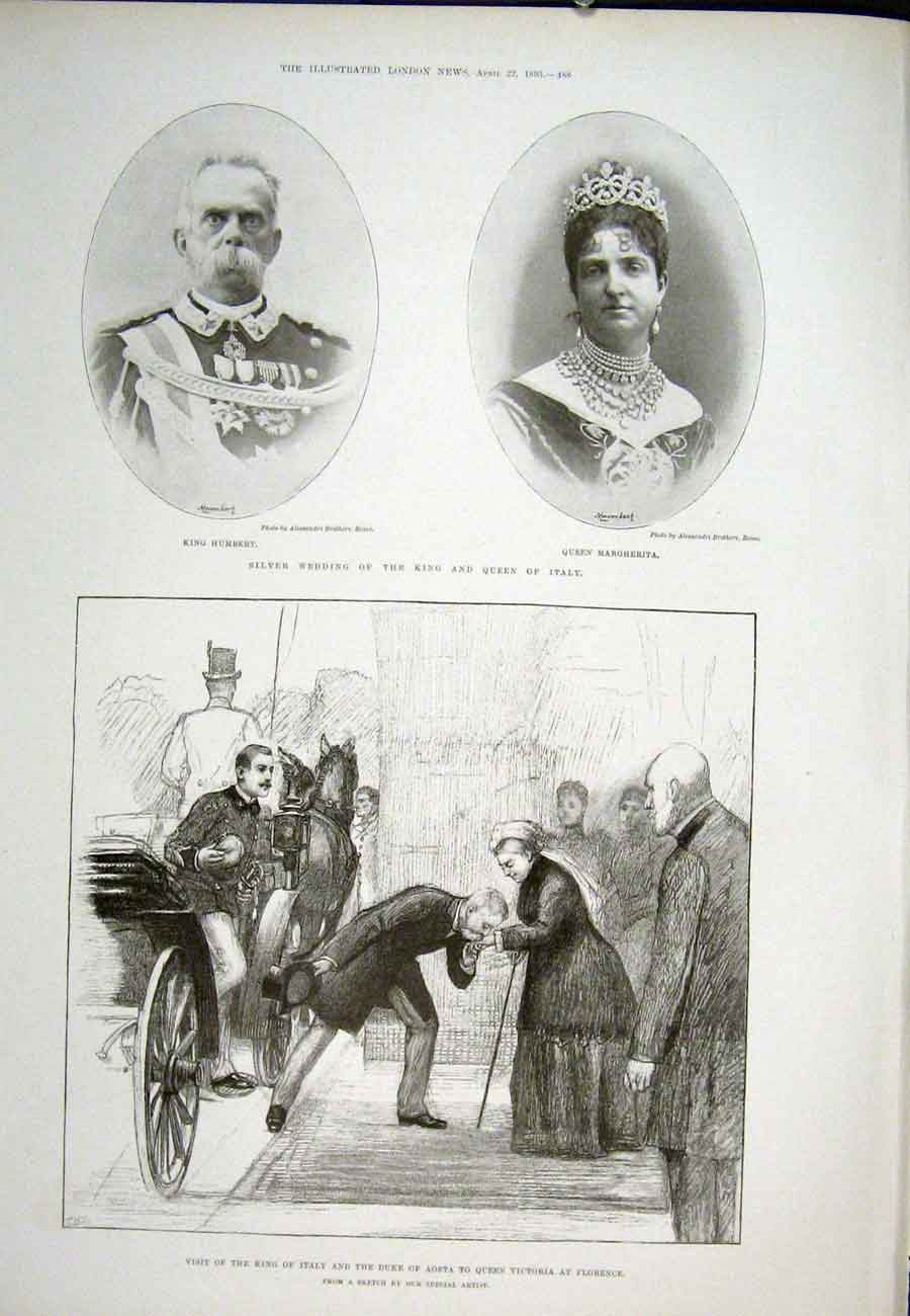 Print Silver Wedding Italy King Aosta Queen Victoria Florence 88Aaa0 Old Original
