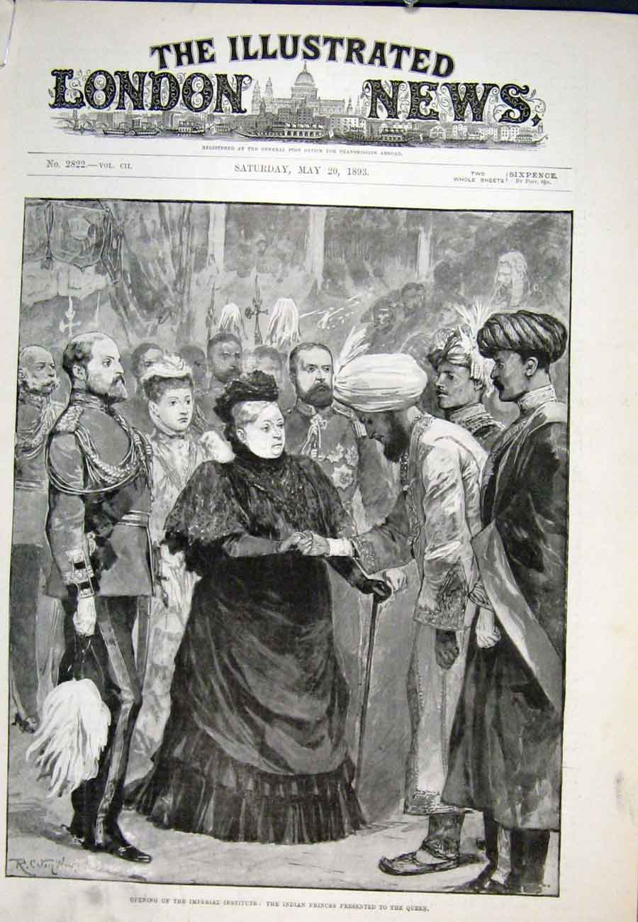 Print Imperial Institute Prince Wales Queen Indian 1893 90Aaaa0 Old Original