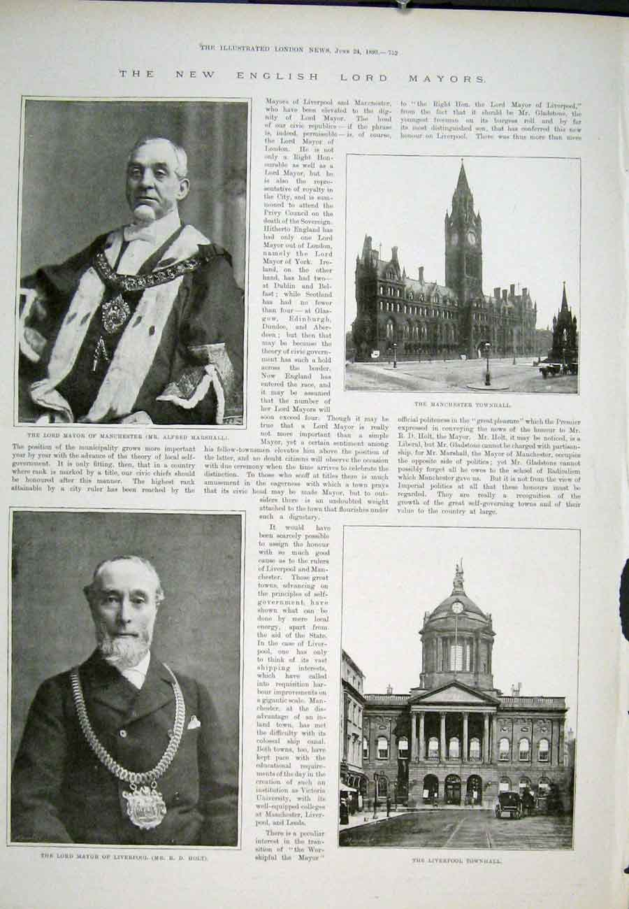 Print Lord Mayor Manchester Liverpool Townhall 1893 52Aaa0 Old Original
