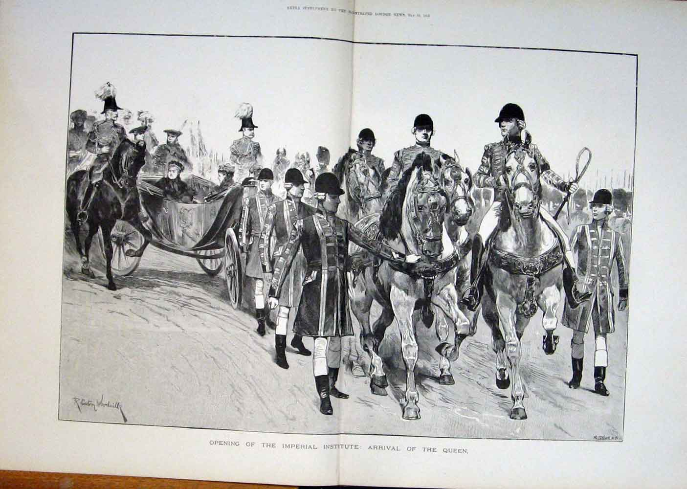 Print Imperial Institute Queen Arrival London 1893 50Taaa0 Old Original