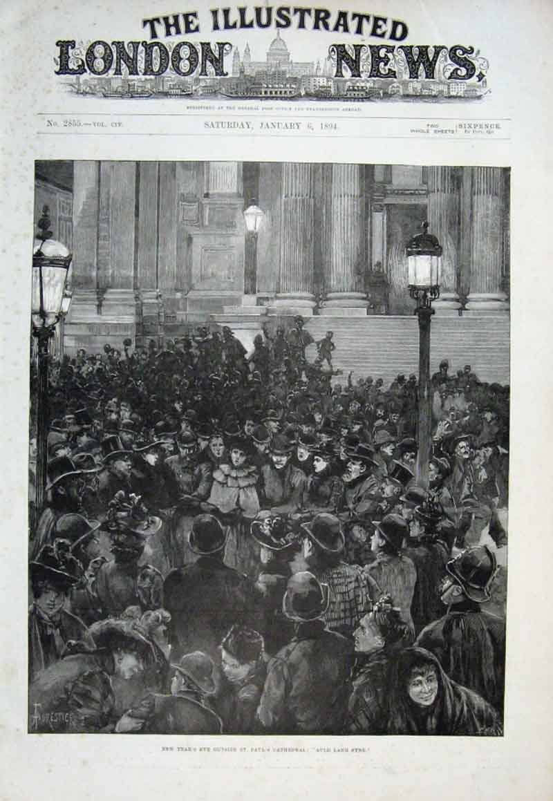 Print Auld Lang Syne Outside St Pauls Cathedral New Years Eve 02Aaa0 Old Original
