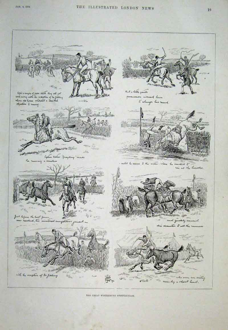 Print The Great Windlebury Steeplechase 1894 Horse 19Aaa0 Old Original