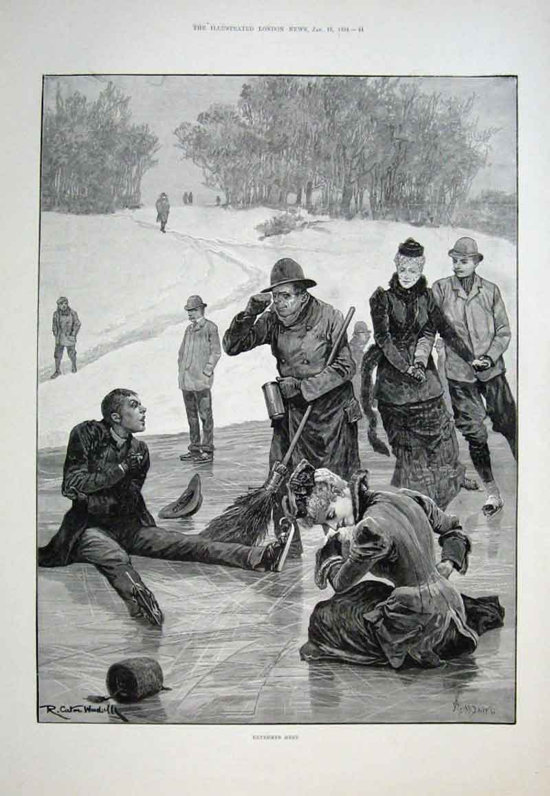 Print Extremes Meet Ice Skating 1894 Fine Art 44Aaa0 Old Original