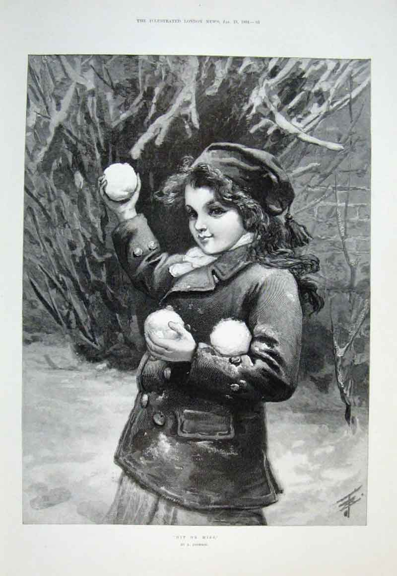 Print Hit Or Mis By Johnson 1894 Snowballing 53Aaa0 Old Original