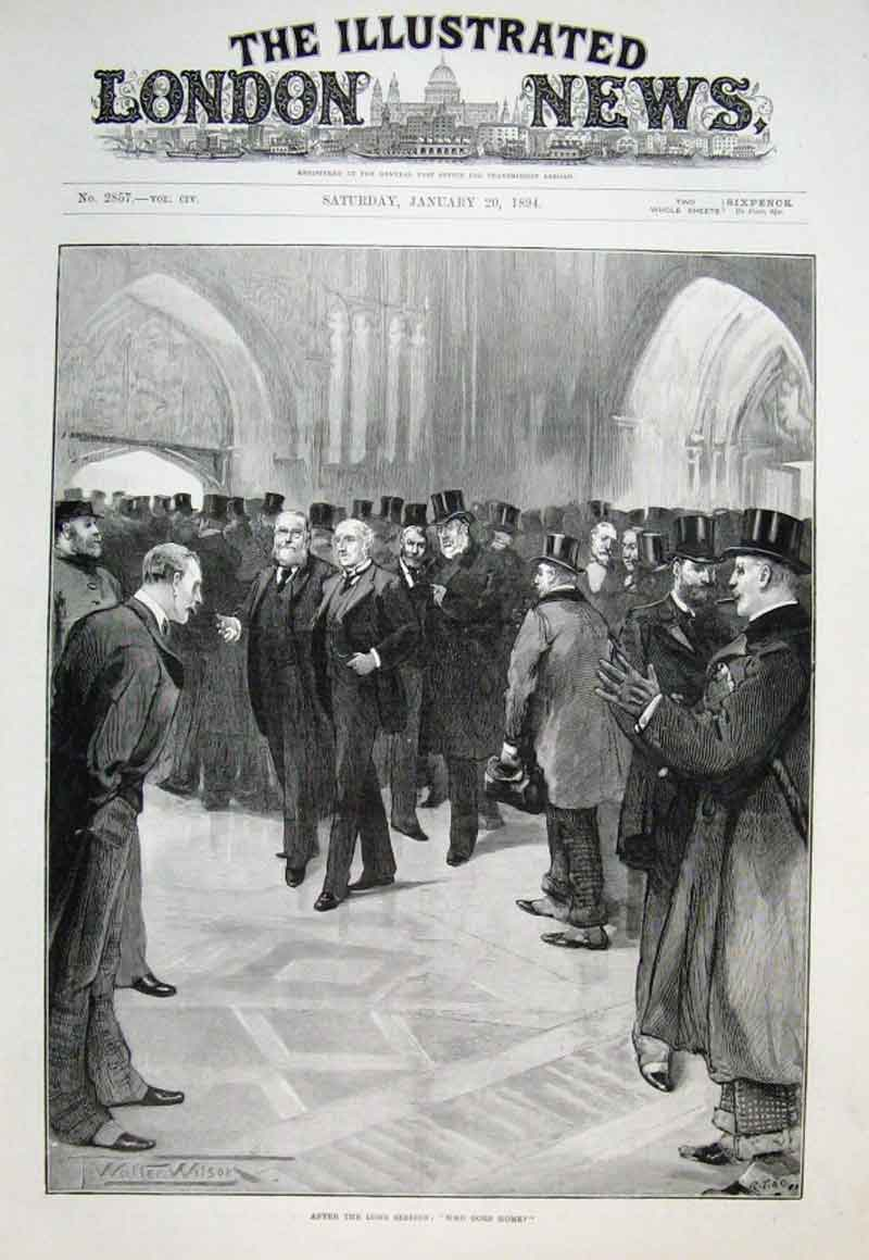 Print After Long Session Parliament Who Goes Home 1894 66Aaa0 Old Original