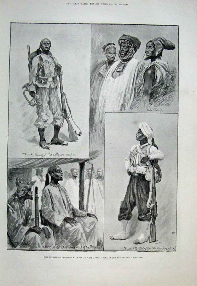 Print Sofa Chiefs & Colonial Soldiers West Africa 1894 69Aaa0 Old Original