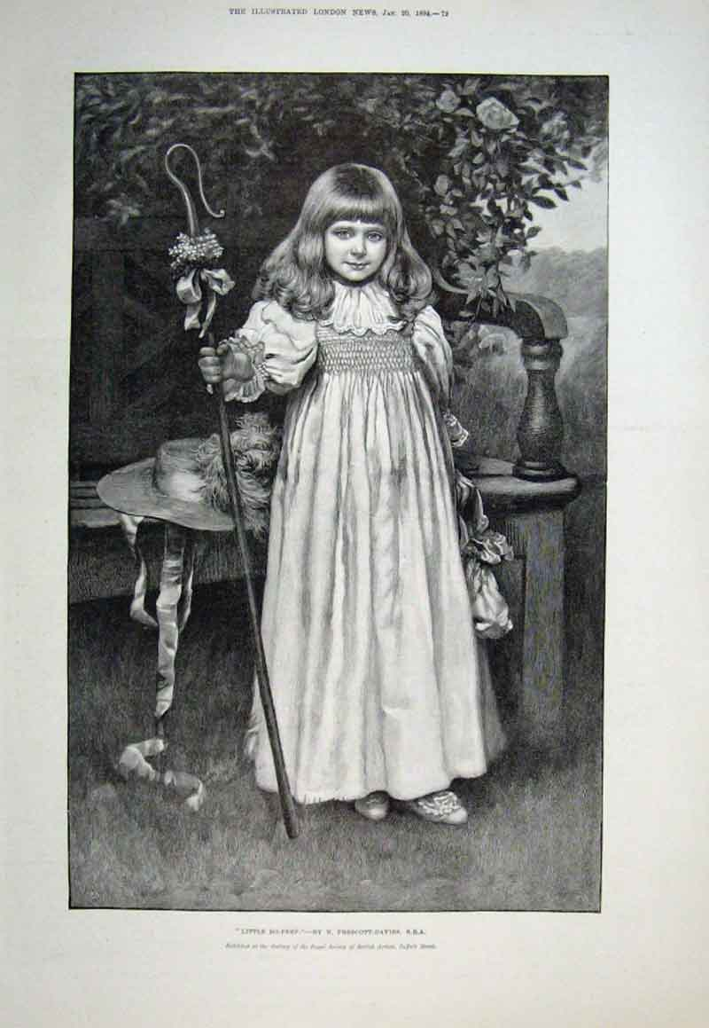 Print Little Bo Peep By Prescott Davies 1894 Fine A 72Aaa0 Old Original