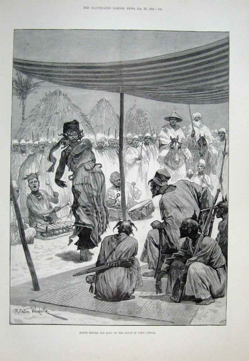 Print Dance Before King The Sofas West Africa 1894 09Aaa0 Old Original