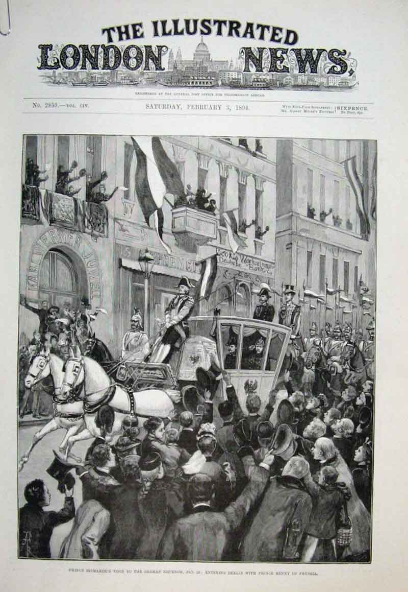 Print Prince Bismark Visit To German Emperor 1894 30Aaaa0 Old Original